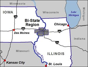State Of Iowa Map With Cities.Chicago Quad Cities Passenger Rail Bi State Regional Commission